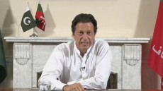 Cricket star-turned-politician Imran Khan, chairman of Pakistan Tehreek-e-Insaf (PTI), gives a speech as he declares victory in the general election in Islamabad, Pakistan, in this still image from a July 26, 2018 handout video by PTI. PTI handout/via REUTERS TV     ATTENTION EDITORS - THIS PICTURE WAS PROVIDED BY A THIRD PARTY. NO RESALES. NO ARCHIVE.
